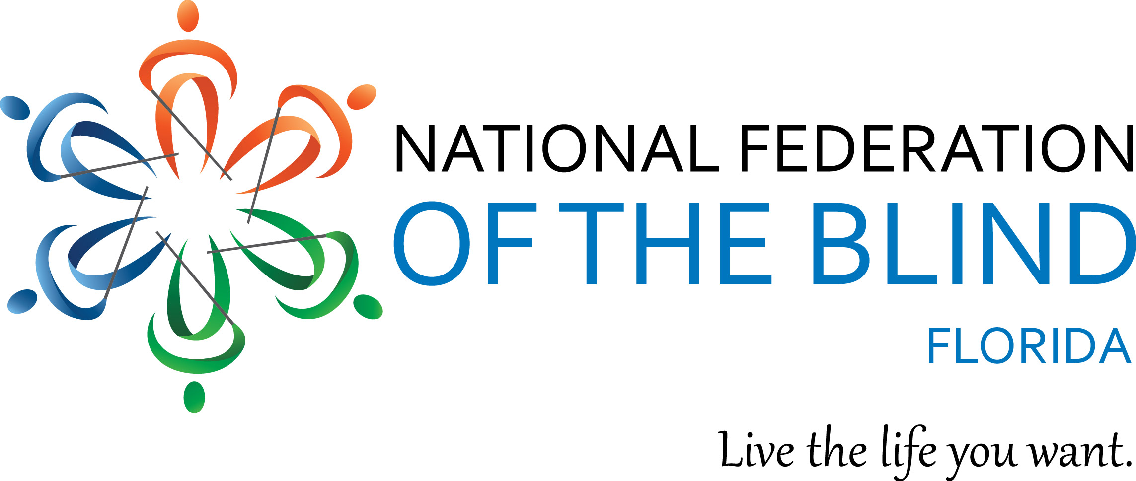 Image of new NFB Logo, with the words 'National Federation of the Blind of Florida.' and 'Live the Life You Want.''